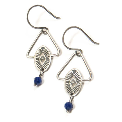 Stamped Sterling & Lapis Geo Earrings