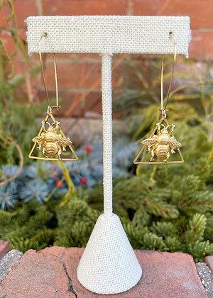 Bee in Brass Triangle Earrings