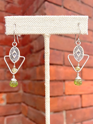 Tuscon Sterling Green Garnet Stamped Earrings