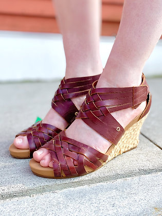 Indigo by Clarks Leather & Woven Wedge Sandals ~ Size 7