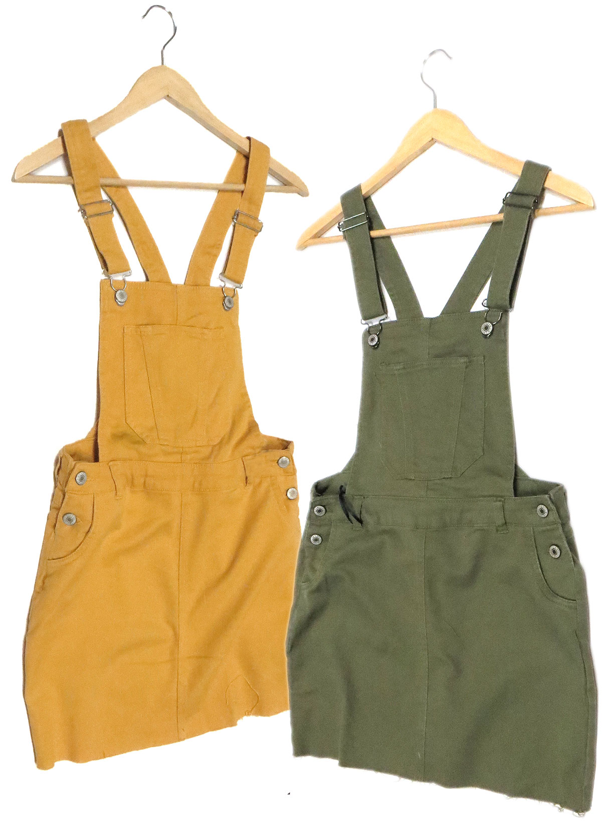 6e56560405b Stretch cotton denim overall skirt in mustard and olive. Hip & back pockets,  cut hem. Full size run.