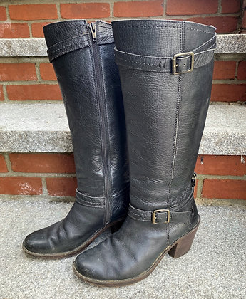 Heeled Frye Leather Boots with Buckles