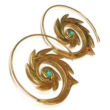 NEW Brass Turquoise Spiral Hoops