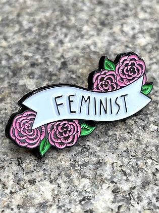"Floral ""Feminist"" Enamel Pin"