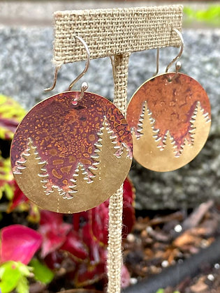 """""""Pines on the Horizon"""" Round Copper & Brass Earrings"""