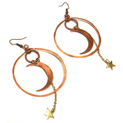 Mixed Metal Celestial Hoop Earrings
