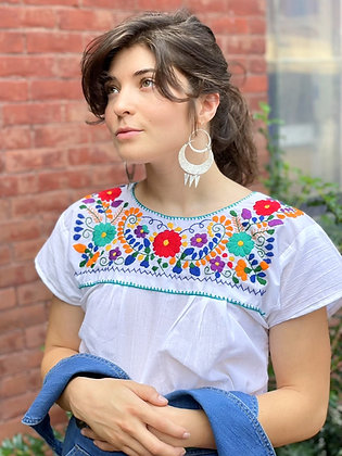 Hand-Embroidered Tehuacan Blouse