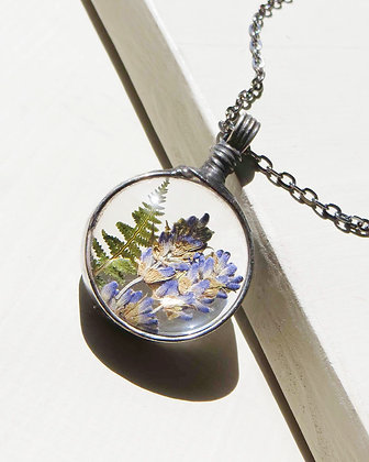 Lavender & Fern Convex Glass Necklace