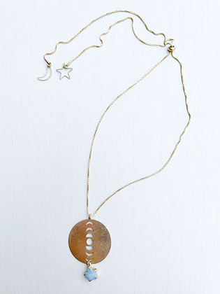 Jade Star & Brass Moon Phase Necklace