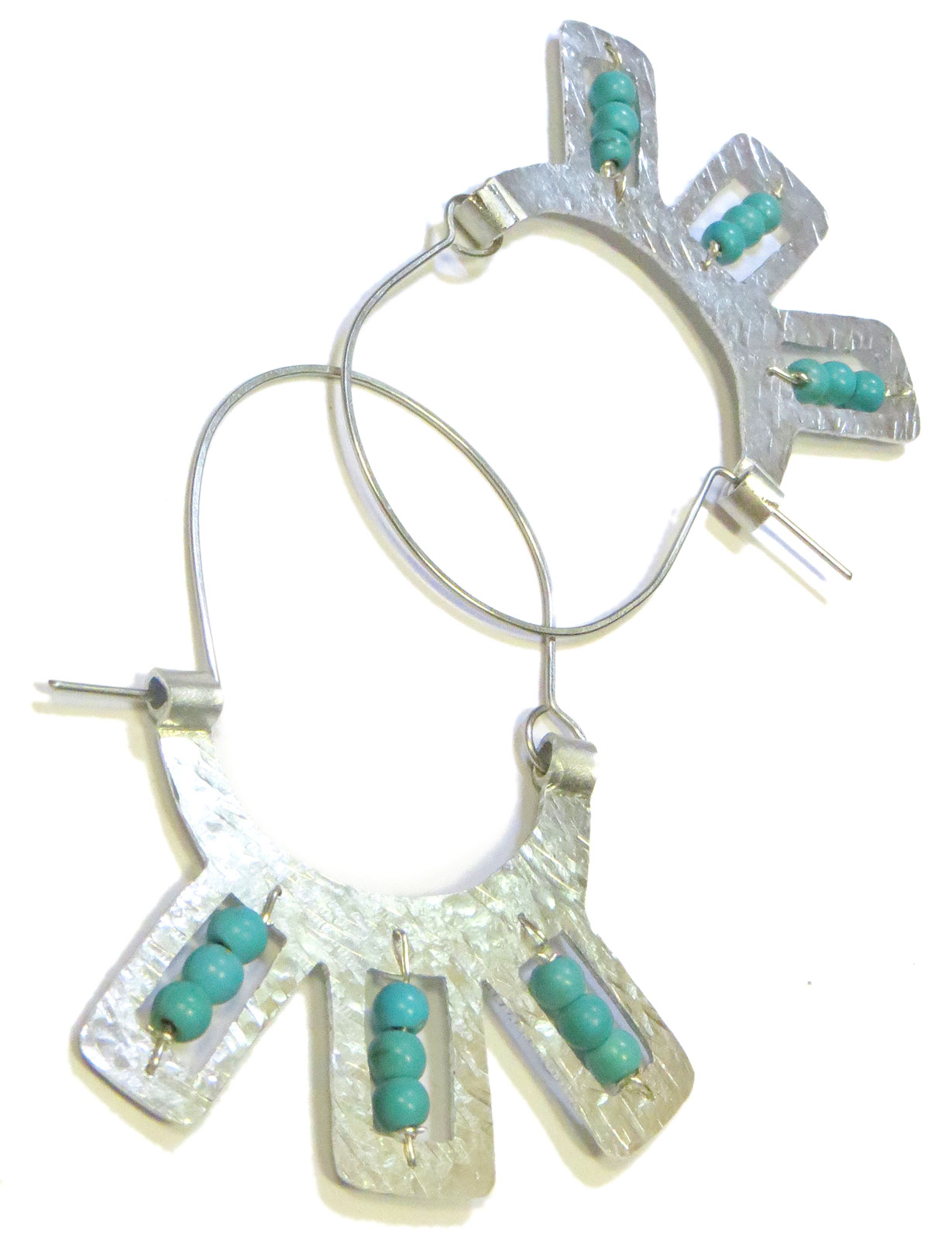 Beaded Aluminum Statement Earrings