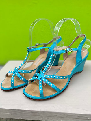 Vintage '50s Turquoise Blue Wedge Sandals ~ Size 7