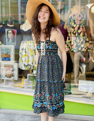 Boho Floral Tie-Front Rayon Sundress