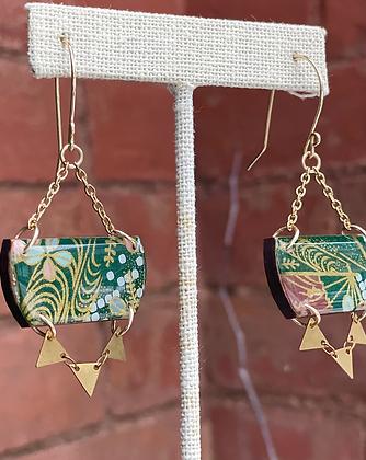 Wooden Japanese Paper Resin Earrings w/Triangles