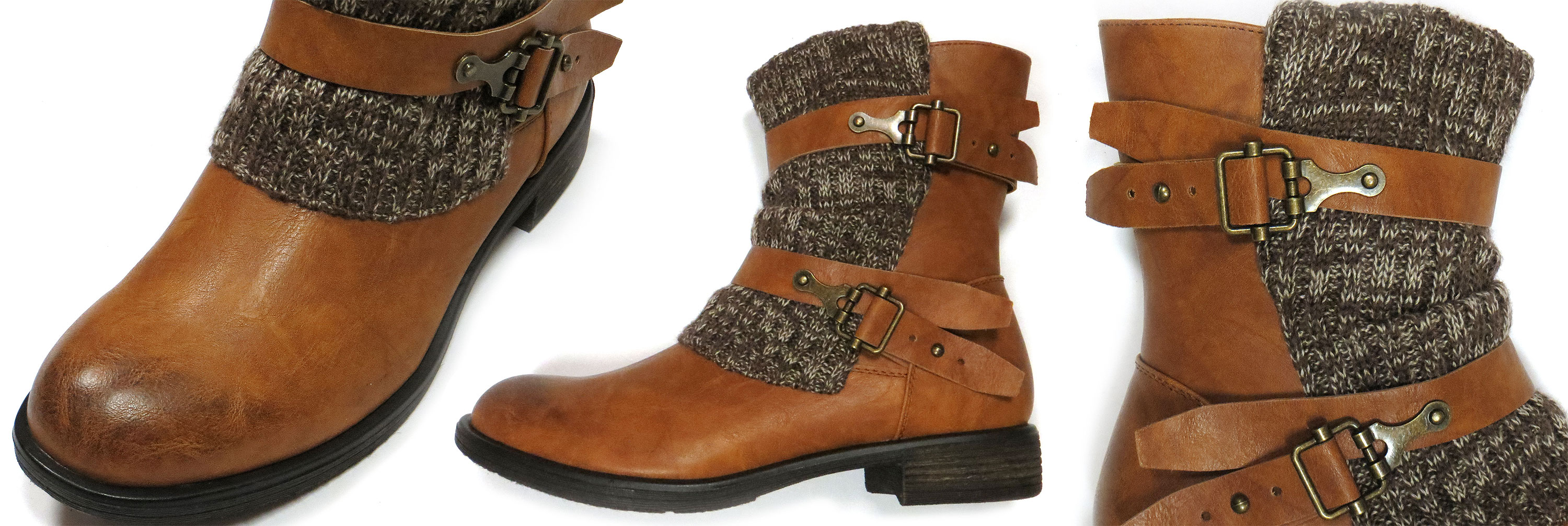 Knit Cuff Buckle Boots
