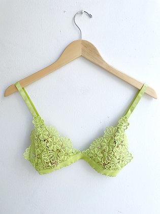 Spring Green Embroidered Floral Bralette
