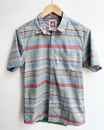 Faded Surfer Stripe Short-Sleeve Cotton Button-Down