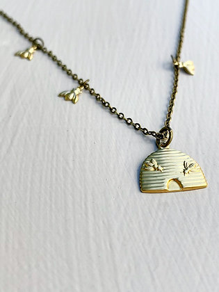 """""""The Hive"""" Brass Necklace"""