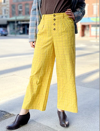 Sunshine Yellow Plaid High Waist Pants