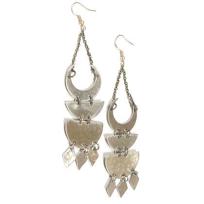 Silver Triple Moon Diamond Earrings