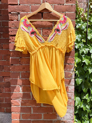 Free People Embroidered Rayon Top ~ Size XS