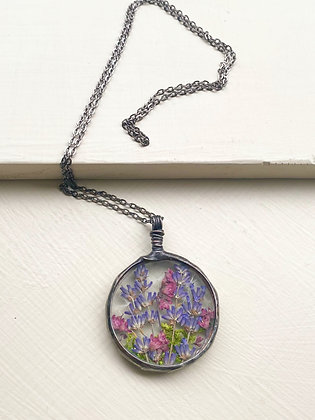 """""""Lavender Fields"""" Stained Glass Necklace"""