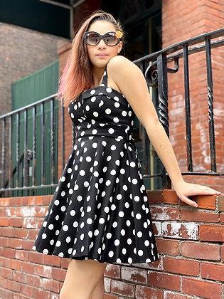 Retro Polka Dot Fit & Flare Dress