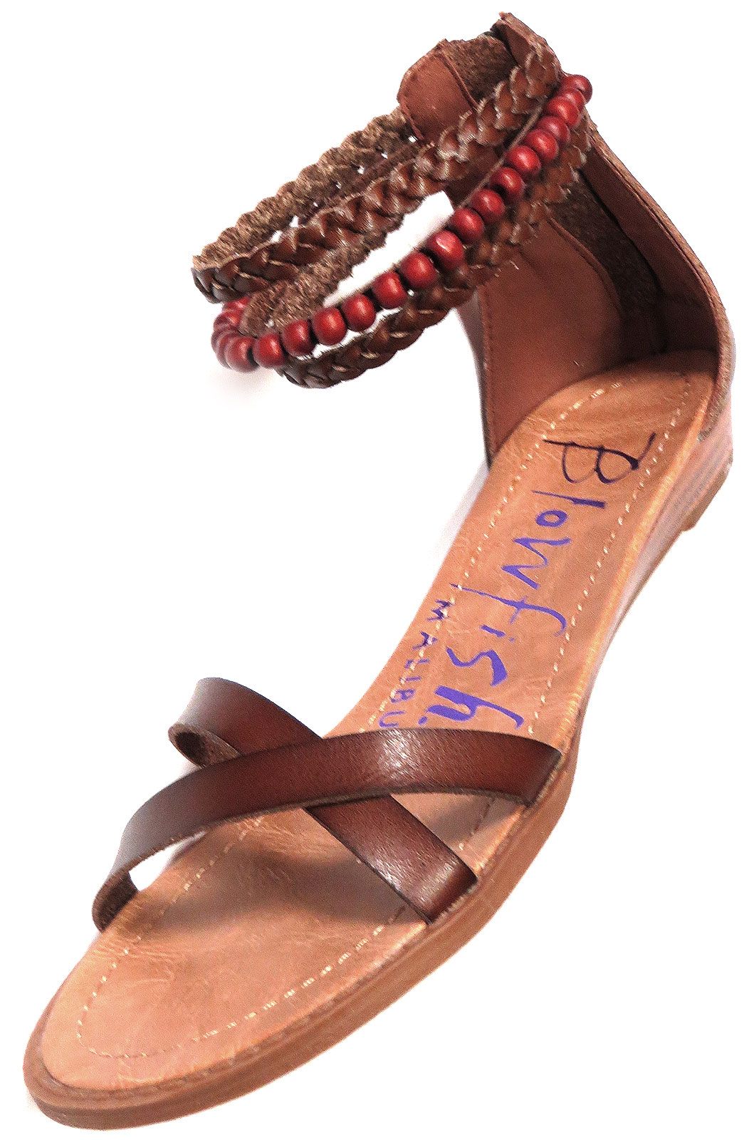 af449356b03e Vegan leather sandal with braided   beaded ankle straps