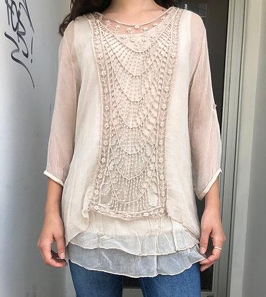 Silk Crochet Lace Tunic Top