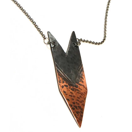 Textured & Oxidized Copper Arrow Necklace