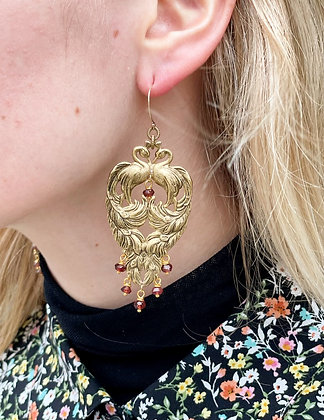 Victorian Style Peacock Brass & Garnet Earrings