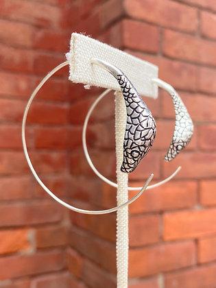Silver Cobra Hoop Earrings