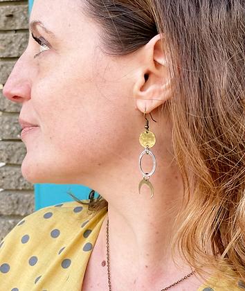 Handmade Mixed Metal Moon Earrings