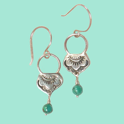 Stamped Sterling & Turquoise Oxidized Earrings