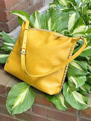 Zara Silver Studded Mustard Bag