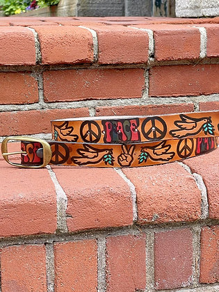"""""""Peace Lovin' Dove"""" Hand-tooled Genuine Leather Belts"""
