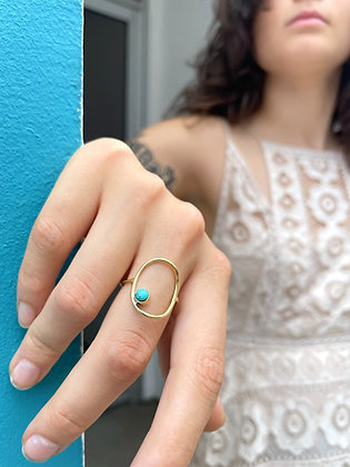 Brass and Turquoise Oval Ring