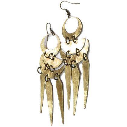 Handmade Moon Phase Dagger Earrings