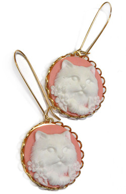 Kitty Cameo Earrings
