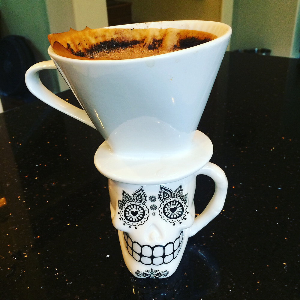 "Pour over coffee mug of ""death by caffeine"""