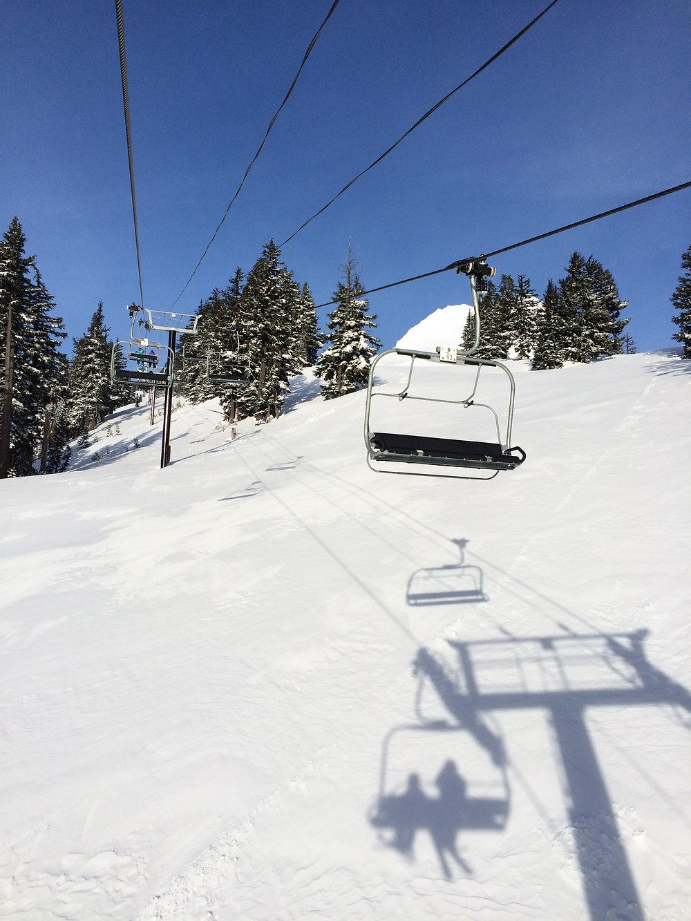 The magic of being first chair on a blue bird powder day with my son.