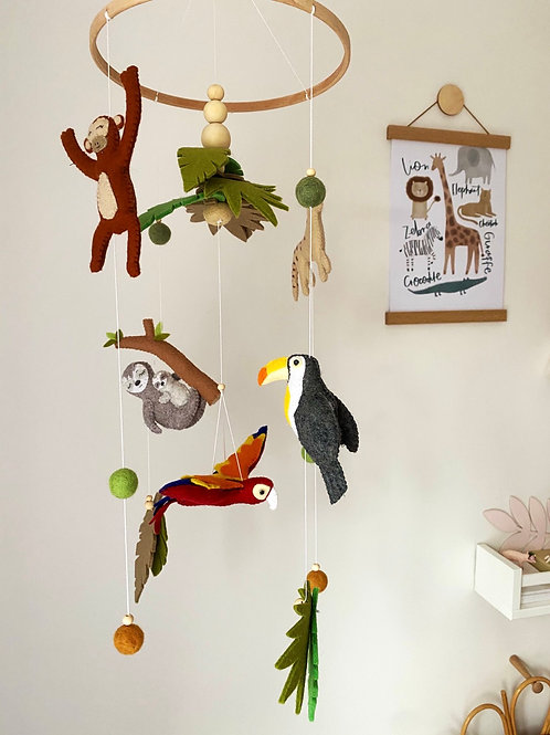 Safari/Jungle Mobile 5 characters with Sloth &/or Parrot