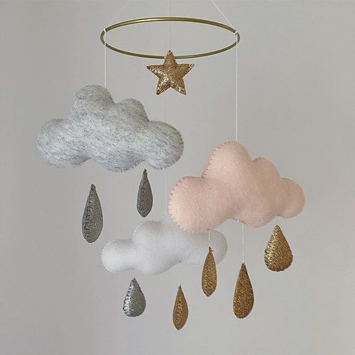 Clouds and raindrops cot mobile