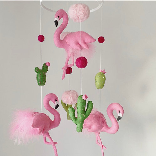 Pink Flamingis with Cacti