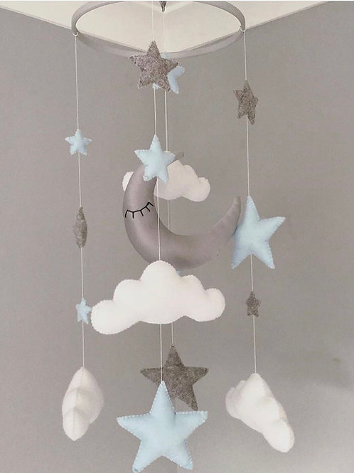 Moon, Stars and Clouds mobile with Baby Blue