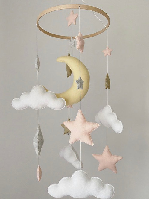 Mixed Pastel Stars Moon & Cloud Mobile