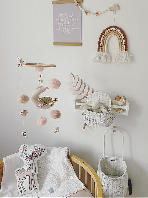 Sleeping Fawn mobile in pale pinks & gray