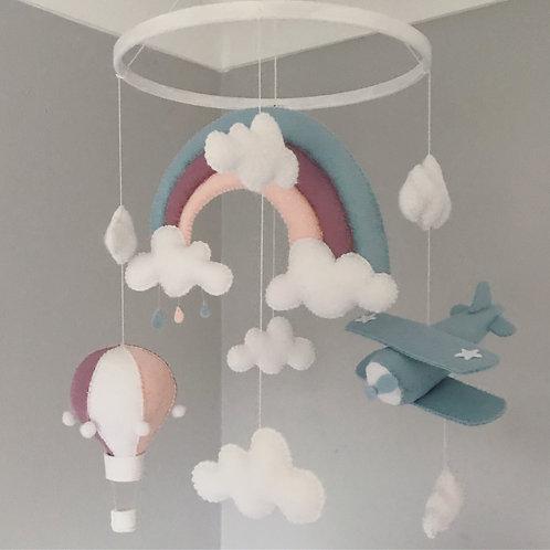 Hot Air Balloon and Bi-plane mobile