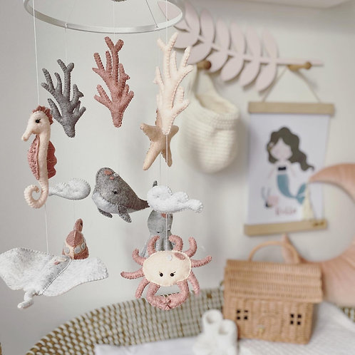 Sea Creatures in pinks and grays