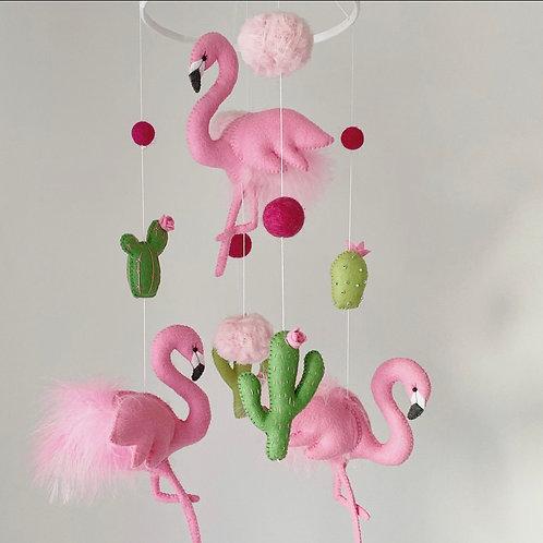 Pink Flamingis with Cacti
