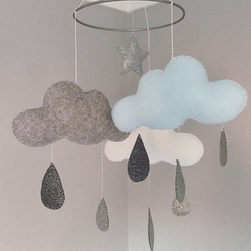 Clouds with raindrops mobile in Blue